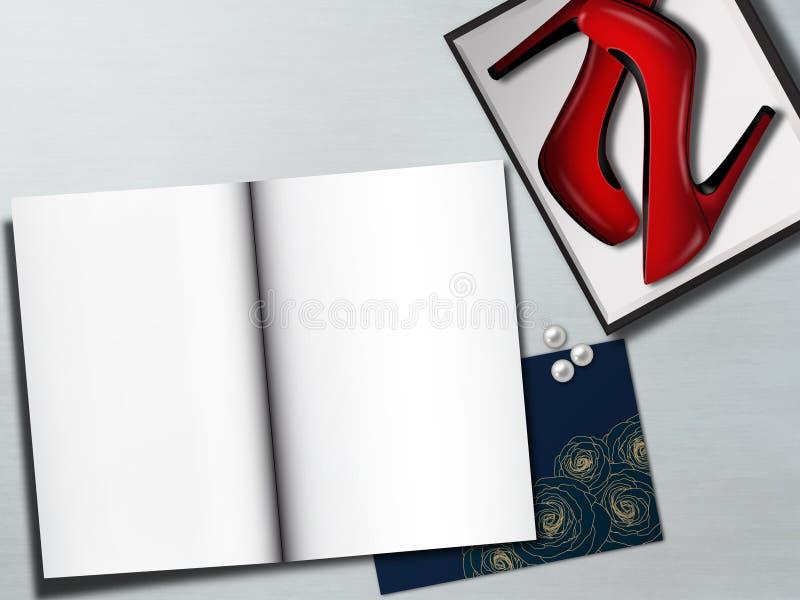 Rode vrouwelijke schoenen in vakje en blanco pagina's Maniermodel royalty-vrije stock foto's