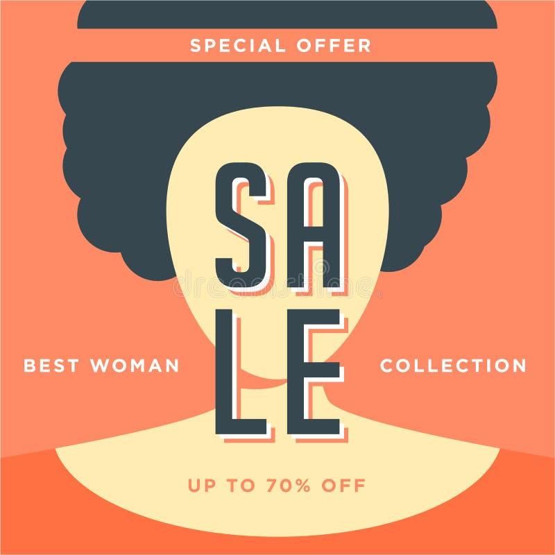 Rode vrouweninzameling 70% de grote aanbieding van de verkoop speciale affiche Het malplaatjeontwerp van de verkoopbanner Special royalty-vrije illustratie