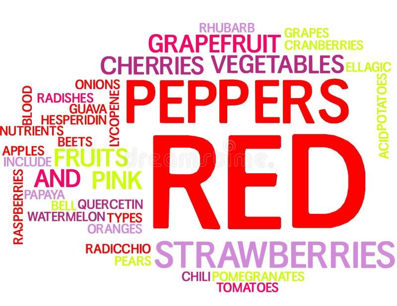 Rode vruchten en groenten - woordwolk royalty-vrije illustratie