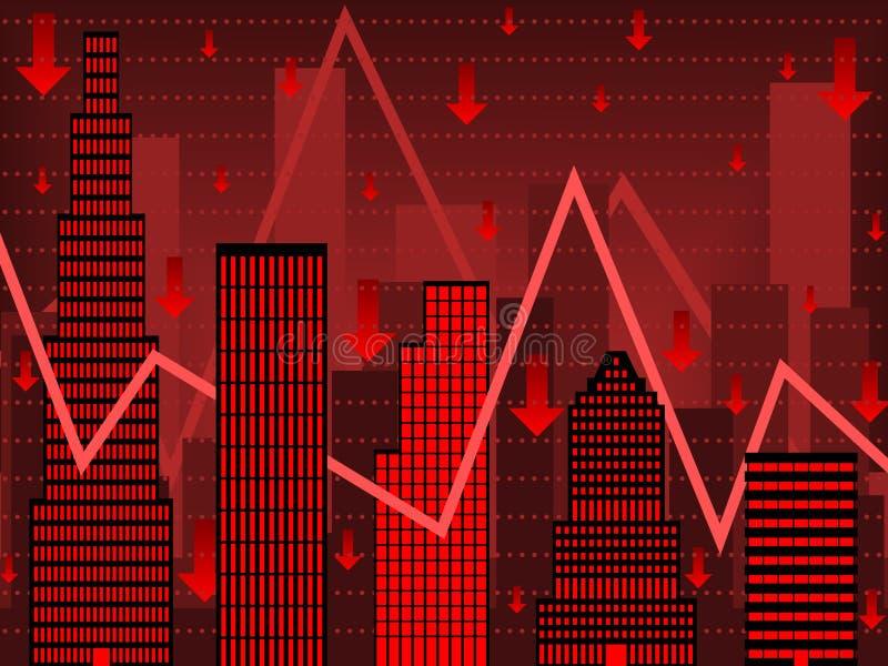 Rode Wall Street financiëngrafiek royalty-vrije illustratie