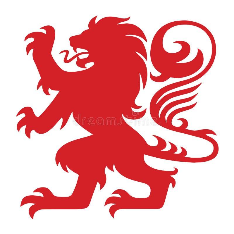 Rode Wapenkunde Lion Logo Mascot Vector vector illustratie