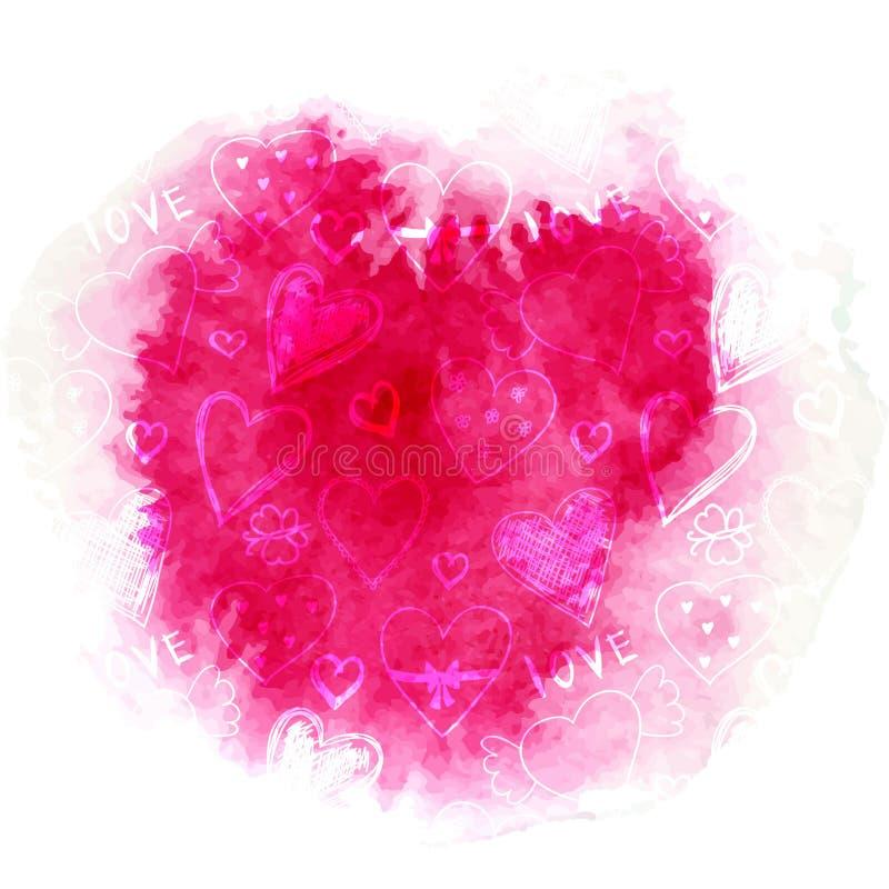 Rode waterverfplons met leuk hart en bloemenpatroon stock illustratie