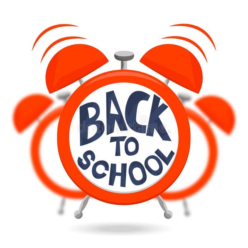 Rode wekker met klokken en tekst terug naar school Wekker op vage achtergrond wordt geïsoleerd die Vector illustratie royalty-vrije illustratie