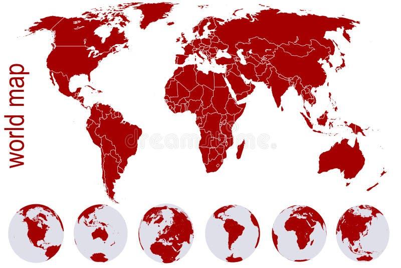 Rode wereldkaart met de bollen van de Aarde stock illustratie