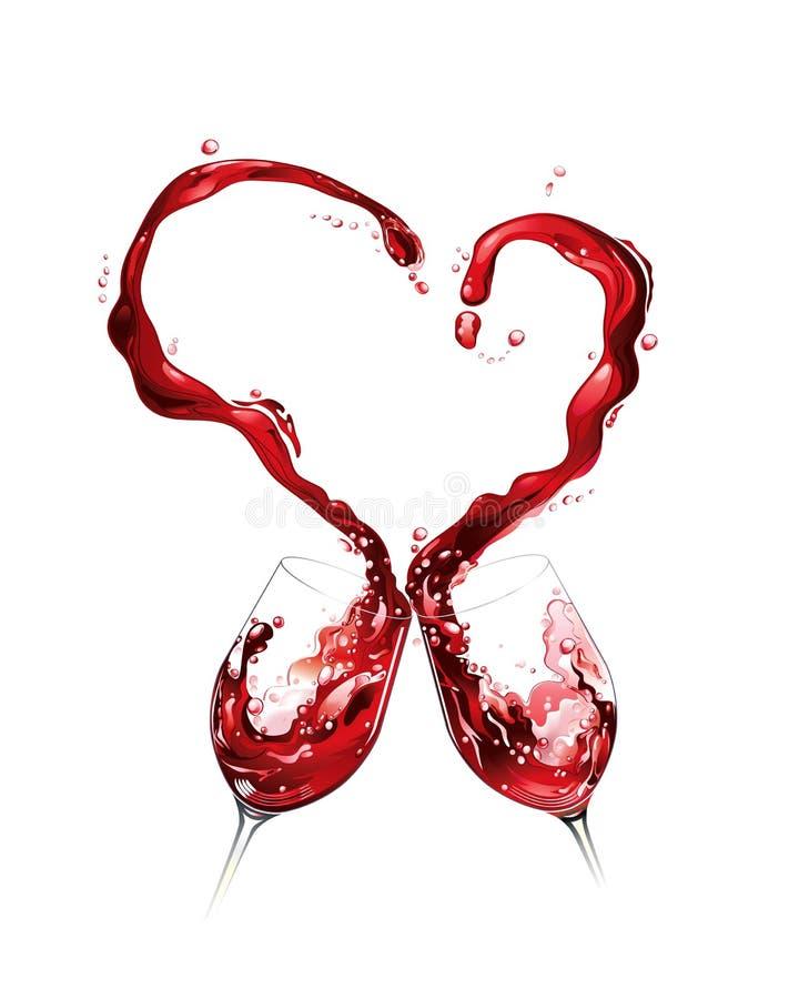 Rode wijn die en hartvorm morst vormt vector illustratie