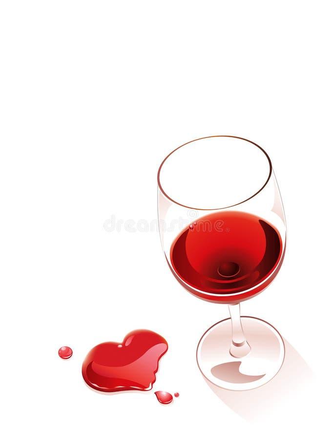 Rode wijn en hart stock illustratie