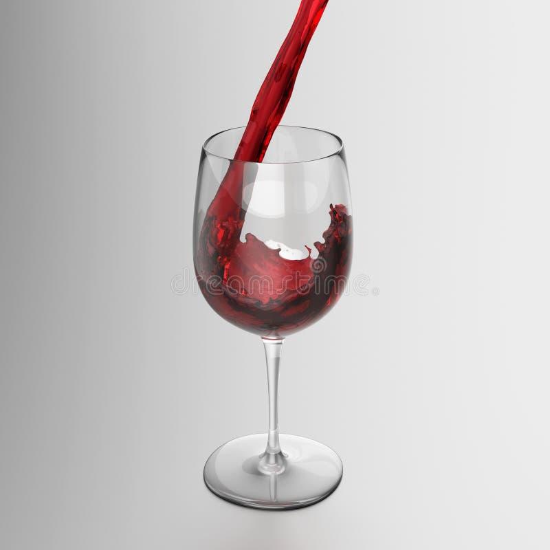 Rode Wijn Het Gieten In Glas Stock Foto