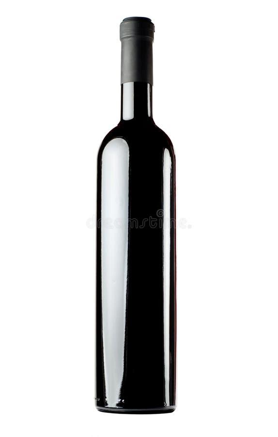 Rode wijn lege fles stock afbeeldingen
