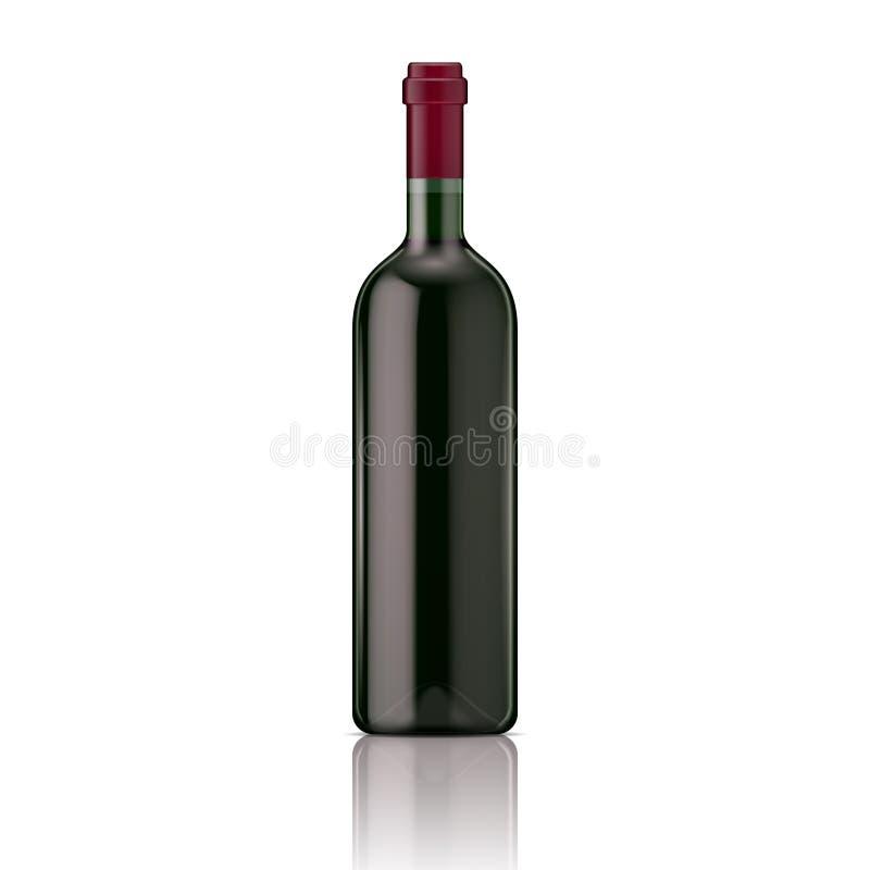 Rode wijnfles. stock illustratie
