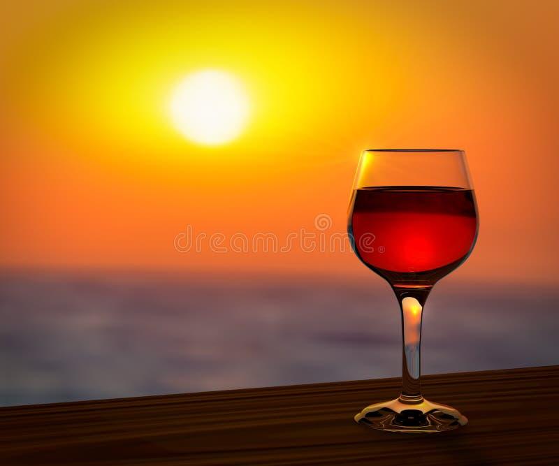 Rode wijnglas bij de zonsondergang stock illustratie