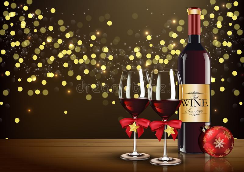 Rode wijnglas met wijnfles en Kerstmisbal op lichte bokehachtergrond royalty-vrije illustratie