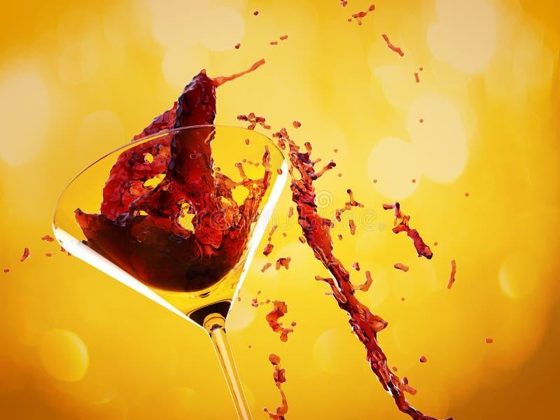 Rode wijnplons stock foto