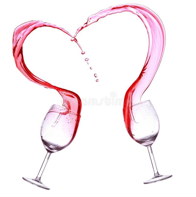 Rode wijnplons, hartvorm royalty-vrije stock afbeeldingen