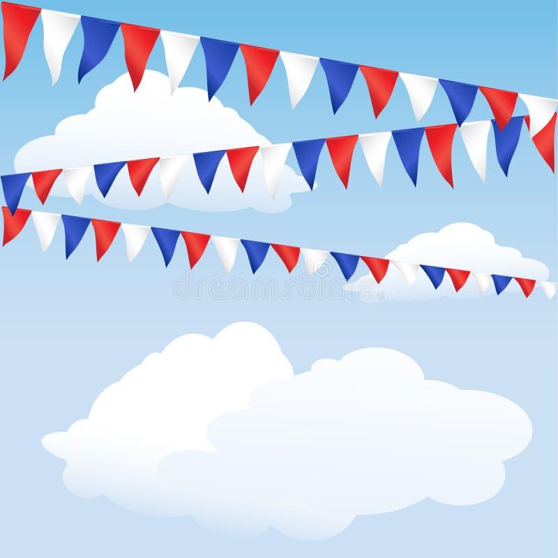 Rode, witte en blauwe bunting stock foto's