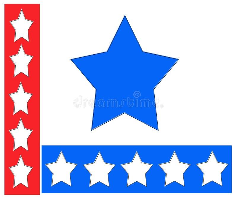 Rode, witte en blauwe sterren stock illustratie