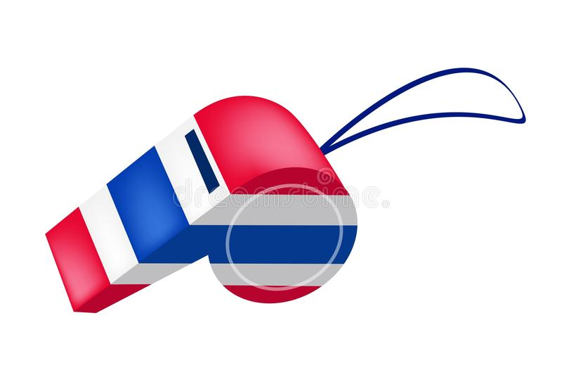 Rode, Witte en Blauwe Streep op Thais Fluitje royalty-vrije illustratie