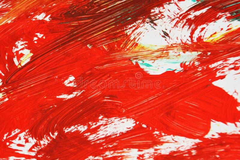 Rode witte heldere kleuren die waterverfachtergrond, abstracte het schilderen waterverfachtergrond schilderen royalty-vrije stock afbeelding