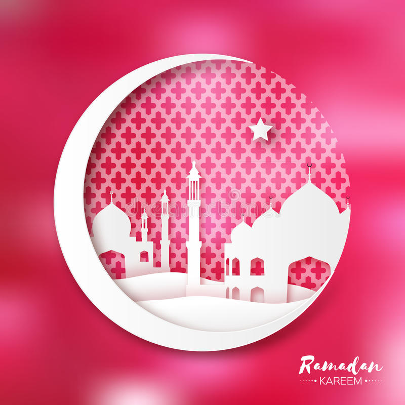 Rode Witte Origami Crescent Moon met Moskee Ramadan Kareem-groetkaart stock illustratie