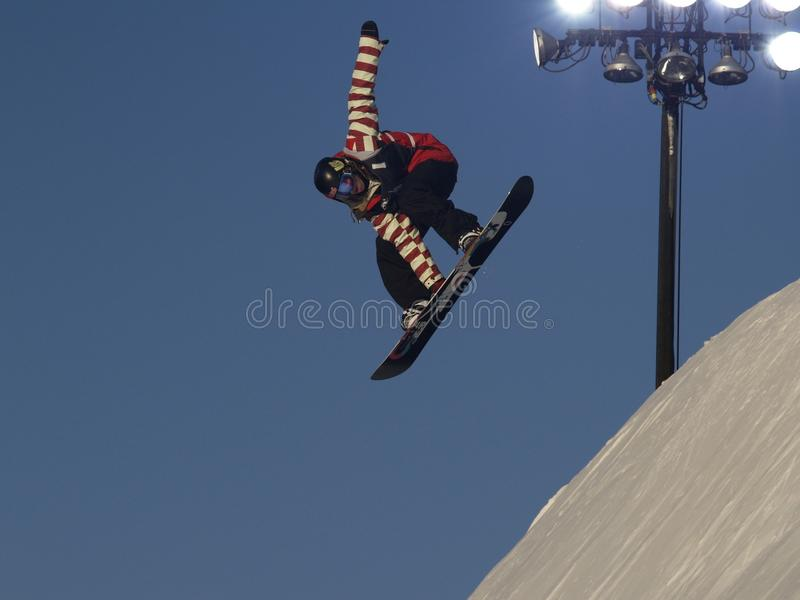 RODE & Witte Snowboarder stock foto's