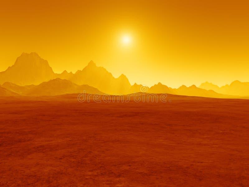 Rode woestijnzonsondergang stock foto