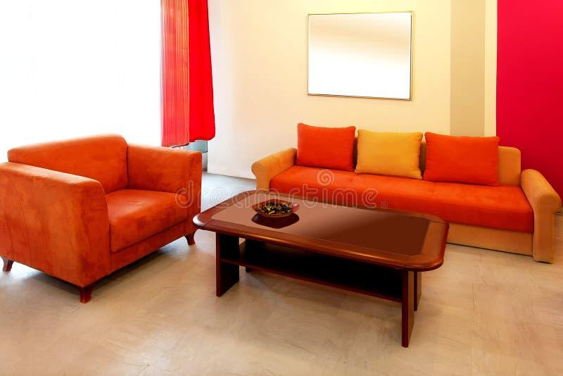 Rode woonkamer stock afbeeldingen