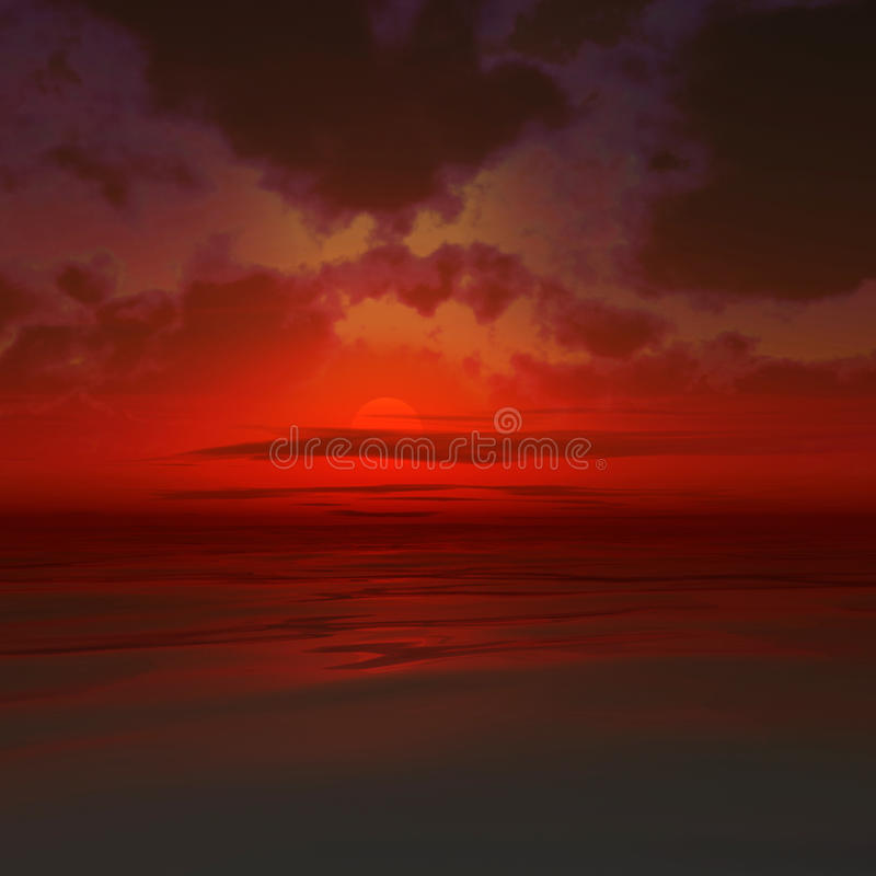 Rode zonsondergang royalty-vrije illustratie