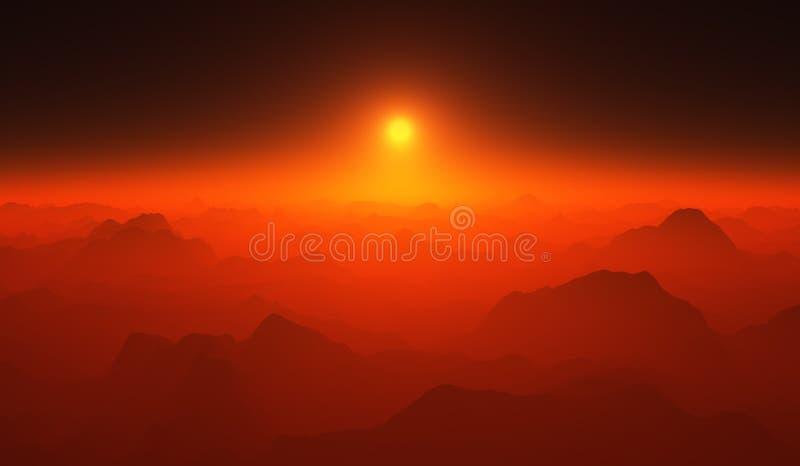 Rode zonsondergang over de bergen stock fotografie