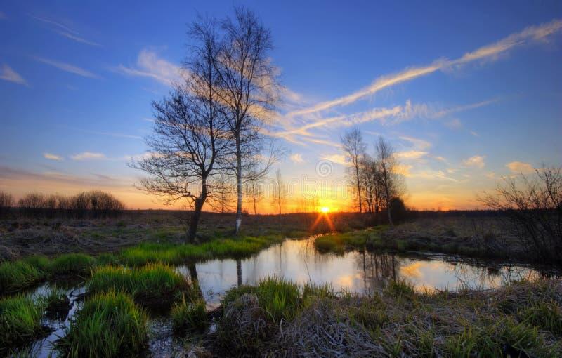 Rode zonsondergang van Rusland stock fotografie