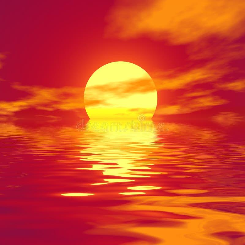 Rode zonsondergang. Zachte kleuren. royalty-vrije illustratie