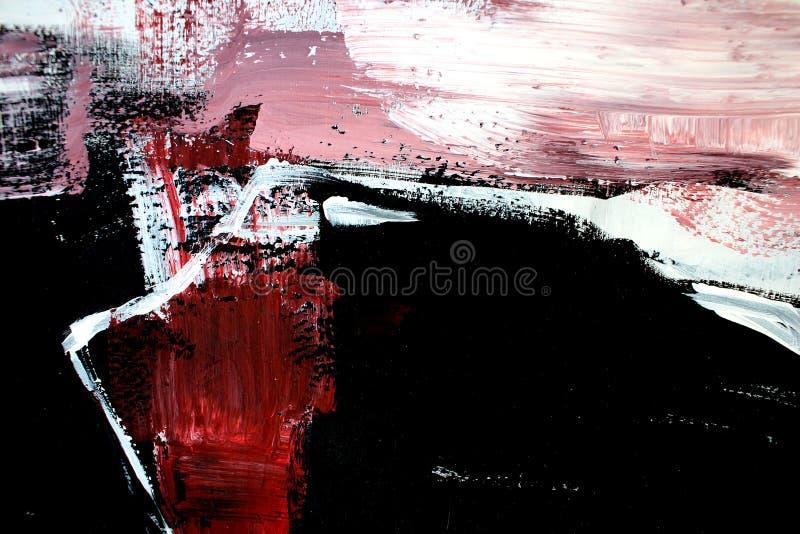 Rode zwarte kleuren op canvas Abstracte kunstachtergrond Kleurentextuur Fragment van kunstwerk Het abstracte Schilderen op Canvas vector illustratie