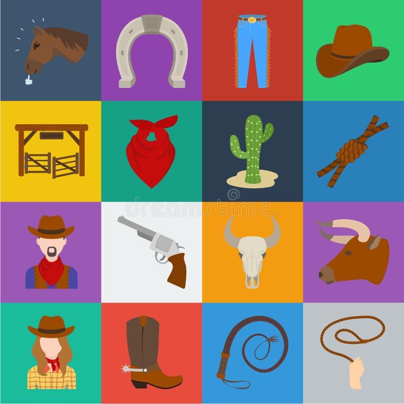 Rodeio, ícones dos desenhos animados da competição na coleção do grupo para o projeto O vaqueiro e o equipamento vector a ilustra ilustração royalty free