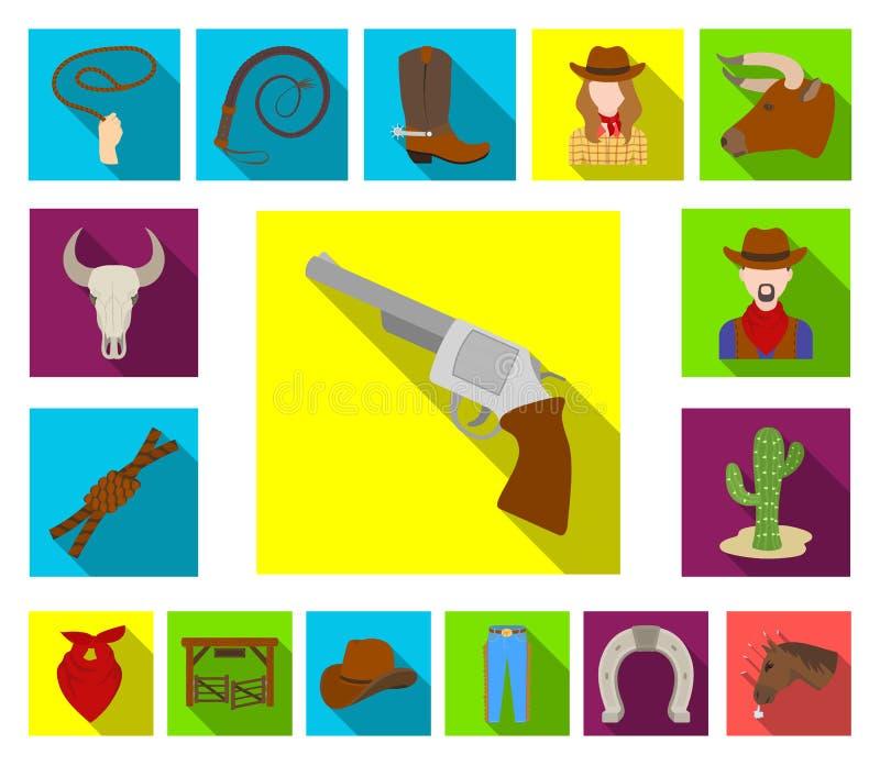 Rodeio, ícones lisos da competição na coleção do grupo para o projeto O vaqueiro e o equipamento vector a ilustração conservada e ilustração stock