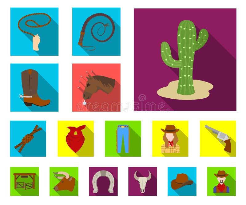 Rodeio, ícones lisos da competição na coleção do grupo para o projeto O vaqueiro e o equipamento vector a ilustração conservada e ilustração do vetor