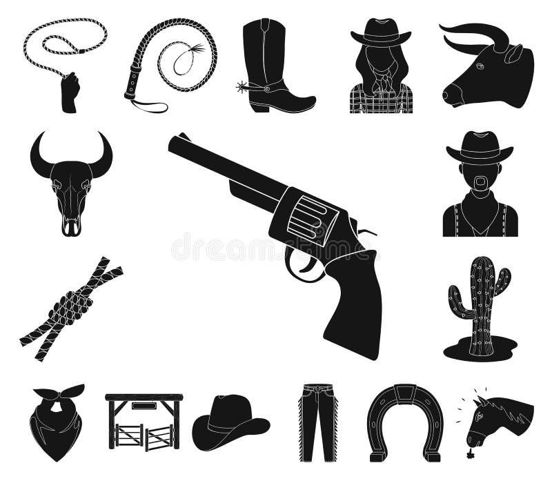 Rodeio, ícones pretos da competição na coleção do grupo para o projeto O vaqueiro e o equipamento vector a ilustração conservada  ilustração do vetor