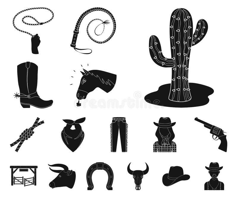 Rodeio, ícones pretos da competição na coleção do grupo para o projeto O vaqueiro e o equipamento vector a ilustração conservada  ilustração royalty free