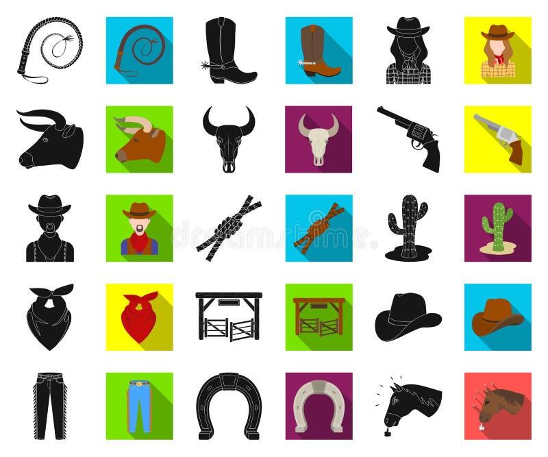 Rodeio, competição preta, ícones lisos em coleção ajustada para o projeto Web do estoque do símbolo do vetor do vaqueiro e do equ ilustração stock