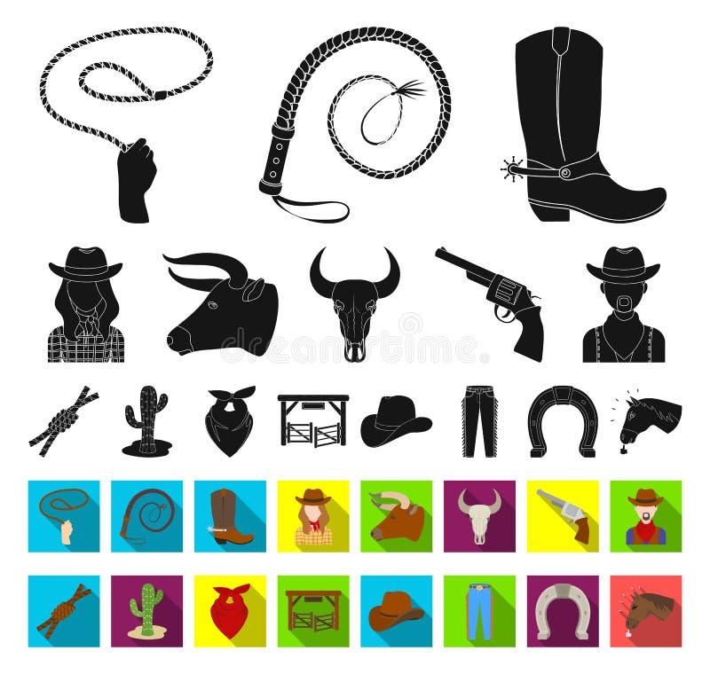 Rodeio, competição preta, ícones lisos em coleção ajustada para o projeto Web do estoque do símbolo do vetor do vaqueiro e do equ ilustração royalty free
