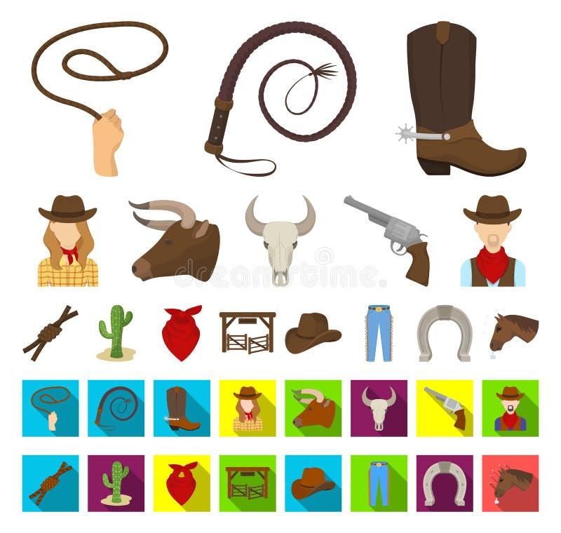 Rodeio, desenhos animados da competição, ícones lisos em coleção ajustada para o projeto Web do estoque do símbolo do vetor do va ilustração stock