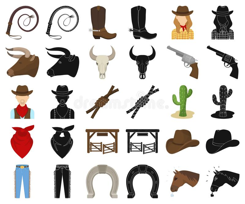 Rodeio, desenhos animados da competição, ícones pretos em coleção ajustada para o projeto Web do estoque do símbolo do vetor do v ilustração stock