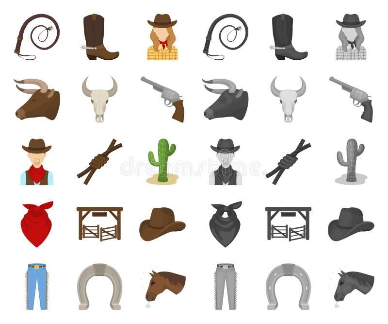 Rodeio, desenhos animados da competição, mono ícones em coleção ajustada para o projeto Web do estoque do símbolo do vetor do vaq ilustração royalty free