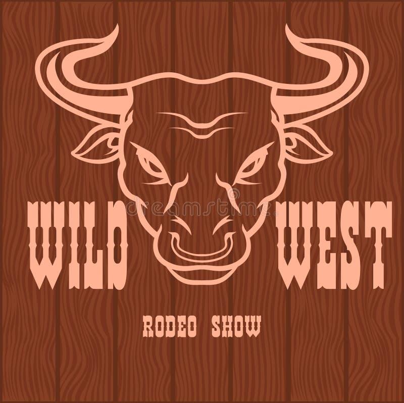 Rodeio ocidental selvagem - crachá na textura de madeira ilustração stock