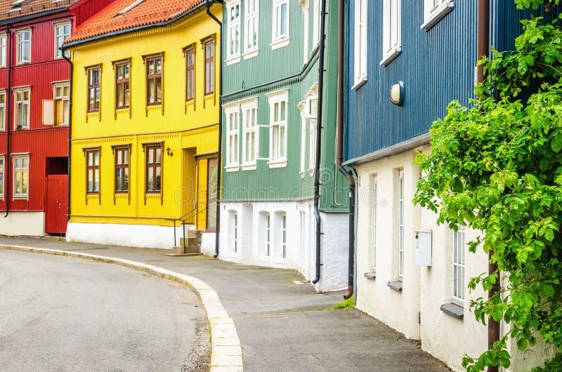 Rodelokka in Oslo, das hölzerne Dorf von Norwegen lizenzfreies stockbild