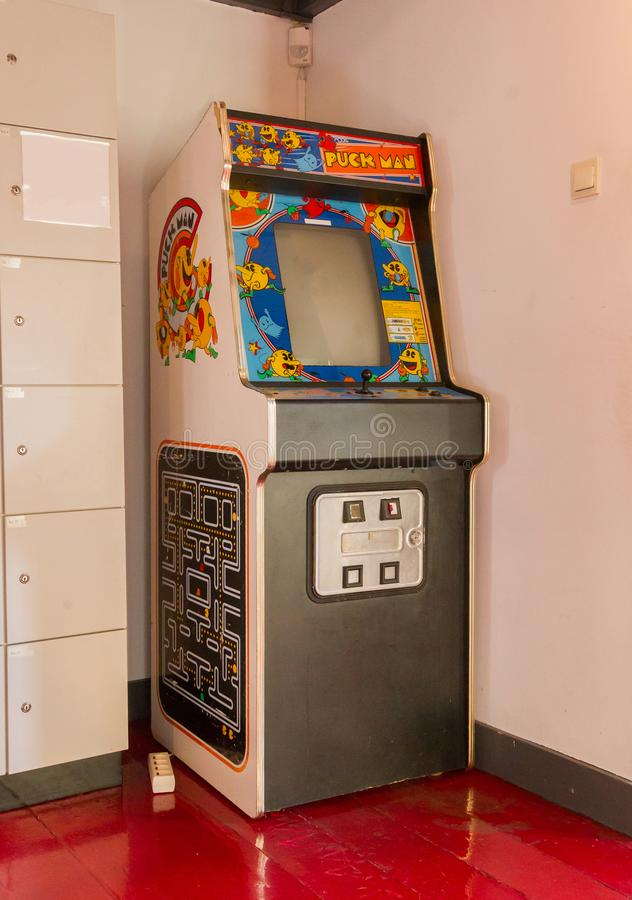Roden, the Netherlands, january 11, 2018 - Vintage Puck Man gaming machine, popular in the 80s and 90s. royalty free stock image