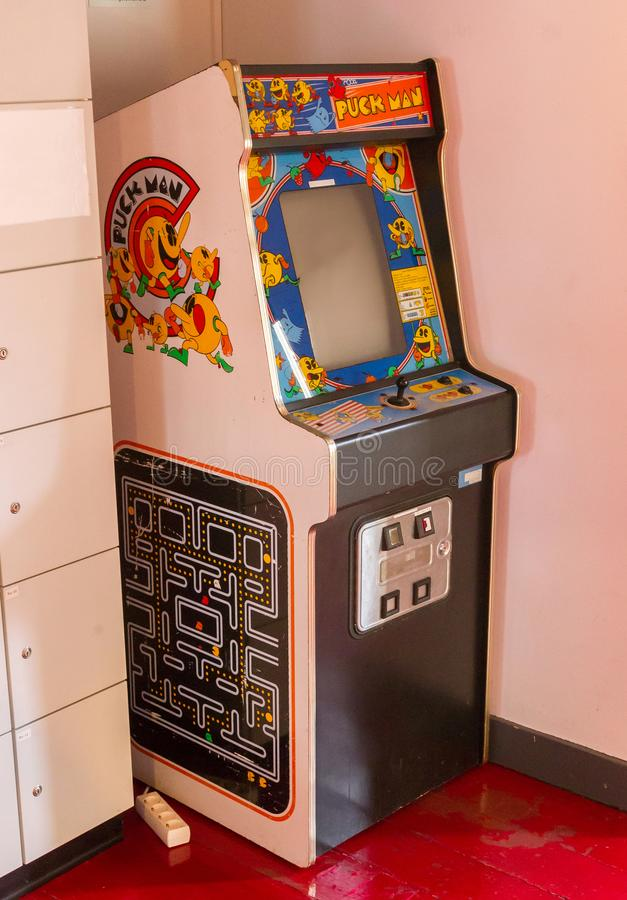 Roden, the Netherlands, january 11, 2018 - Vintage Puck Man gaming machine, popular in the 80s and 90s. stock image