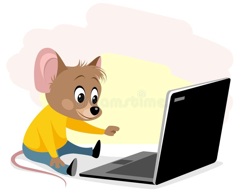 Rodent at the computer stock illustration