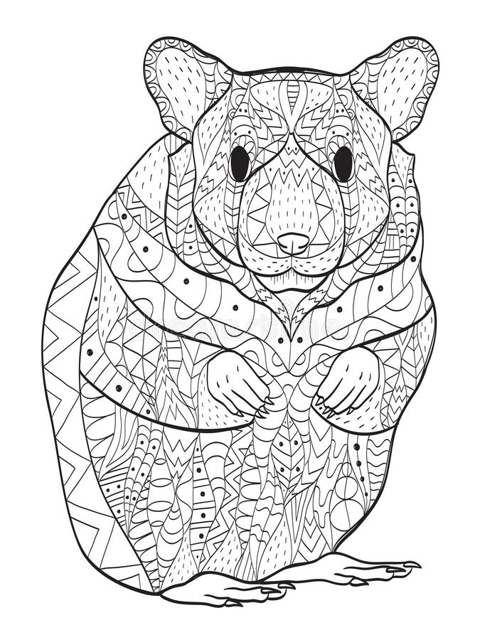 Rodent hamster coloring vector for adults. Rodent coloring book vector illustration. Anti-stress coloring for adult hamster. Zentangle style. Black and white stock illustration