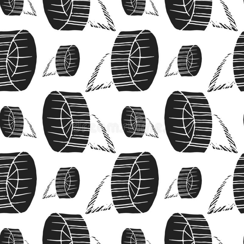 Rodent wheel vector seamless pattern. Background royalty free illustration