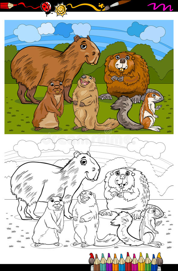 Rodents animals cartoon coloring book vector illustration