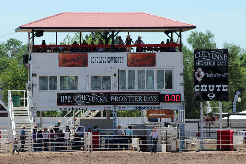 Rodeo Chute. A view of the rodeo chute at Frontier Days in Cheyenne, Wyoming. Frontier Days is one of the largest rodeos in the world, and the behind the chutes royalty free stock photos
