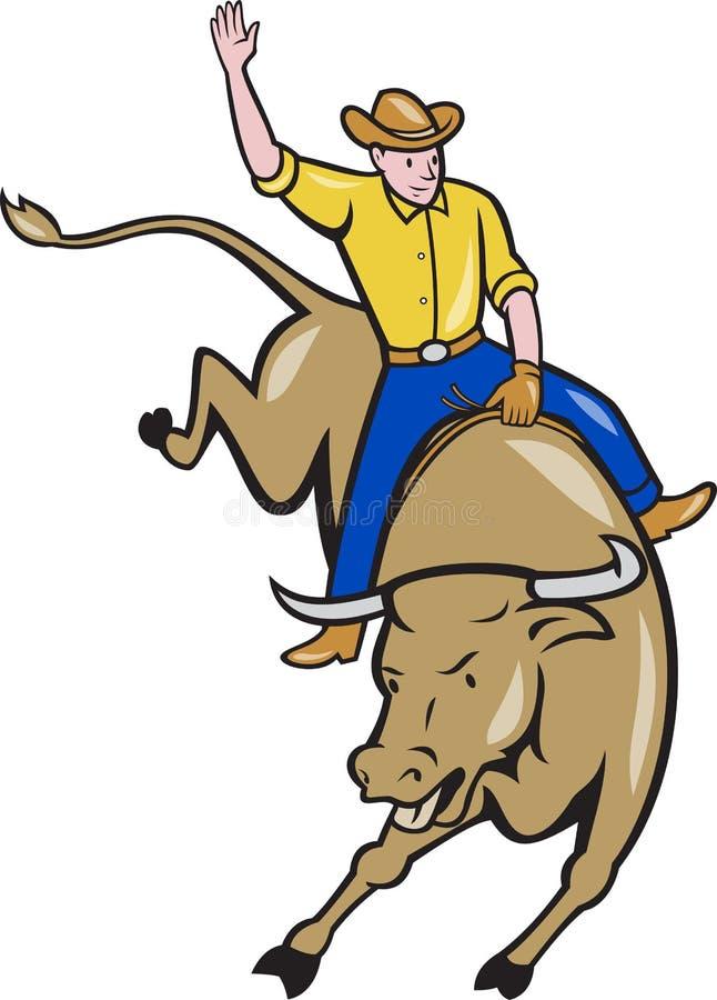 Rodeo Cowboy Bull Riding Cartoon stock illustration